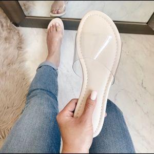 Shoes - Clear Nude Slide Sandal